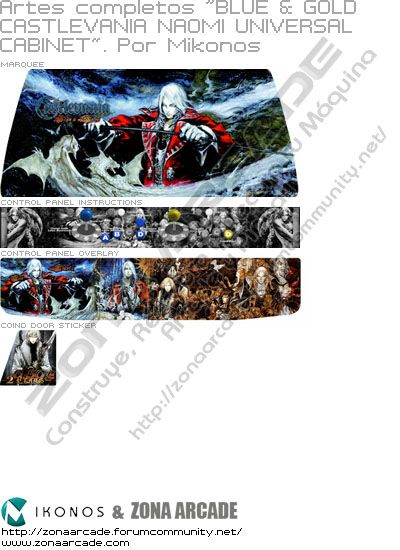 "Artes completos ""Blue & Gold Castlevania Naomi Universal Cabinet"""